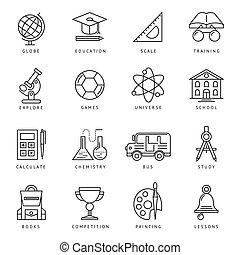 monochromia, szkoła, komplet, ikona