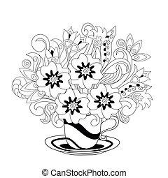 monochromia, ziele, filiżanka, doodle, dekoracyjny, fiołki