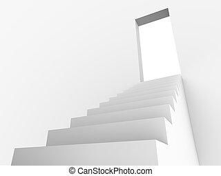 Monochromic 3d rendered image of stair to opened door