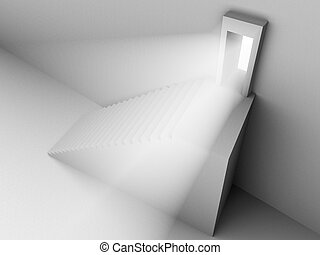 Monochromic 3d rendered image of stair to opened door with light from it.