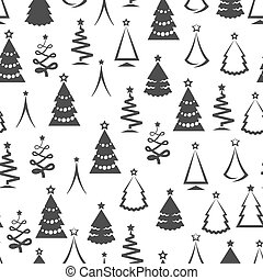 Monochromic christmas tree seamless pattern