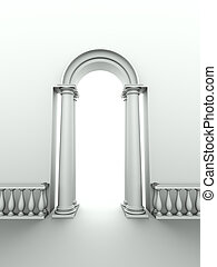 monochromic image of classical entrance with arc, columns and balustrade