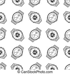 Monochromic seamless pattern with watches