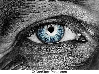 monochroom, afbeelding, van, een, menselijk oog