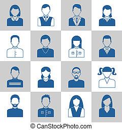 monochroom, avatar, iconen, set