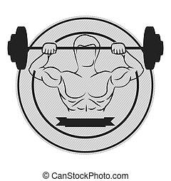 monochroom, circulaire, grens, met, spier man, het tilen, een, schijf, gewichten, en, etiket