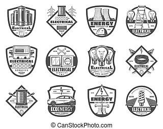monochroom, energie industrie, macht, iconen