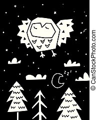 monochroom, forest., op, illustratie, modieus, scandinavische, vliegen, uil, vector