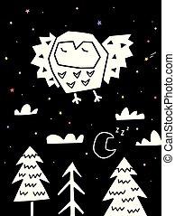 monochroom, forest., stijl, op, illustratie, scandinavische, vliegen, eenvoudig, uil, vector