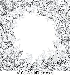 monochroom, frame, bloemen