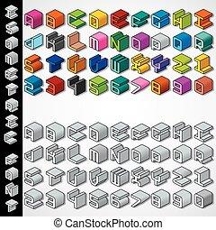 monochroom, isometric, lettertype, 3d, veelkleurig