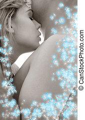 monochroom, sensuality, met, blauwe bloemen, #2