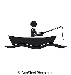 monochroom, silhouette, visserboot, man