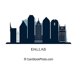 monochroom, skyline, dallas, silhouette.