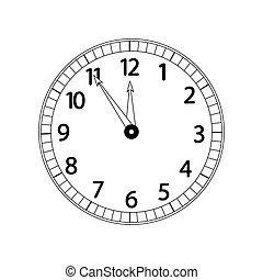 monochroom, witte , klok, vrijstaand, achtergrond
