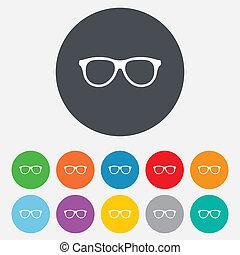 monocle, cadre, symbole., signe, retro, icon., lunettes