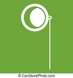Monocle icon green - Monocle icon white isolated on green...