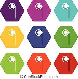 Monocle icon set color hexahedron - Monocle icon set many...