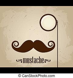 monocle, vetorial, hipster, bigode