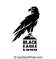monocromático, águia, logo.