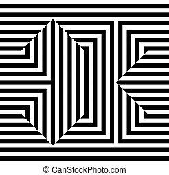 monocromático, óptico, linhas, ilusão, fundo