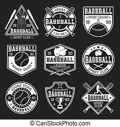 monocromático, basebol, logotipos