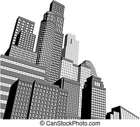 monocromático, cidade, arranha-céus