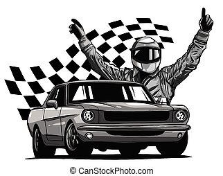 monocromático, conductor, coche de la raza, vector, frente, el suyo, ilustración