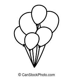 monocromático, contorno, fundo, com, balões, cima