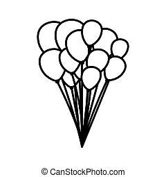monocromático, contorno, fundo, com, balões