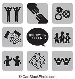 monocromático, cooperação, ícones