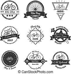 monocromático, emblemas, bicicleta, cobrança
