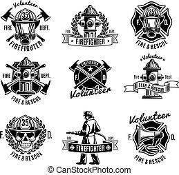 monocromático, firefighting, jogo, etiquetas