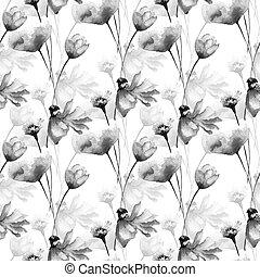 monocromático, flores, seamless, padrão
