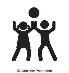 monocromático, jogo, crianças, bola, pictograma