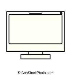 monocromático, lcd, silueta, monitor