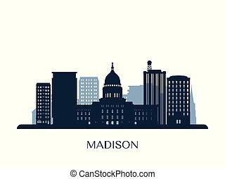 monocromático, madison, skyline, silhouette.