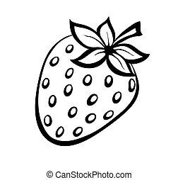 monocromático, morangos, vetorial, logo., ilustração