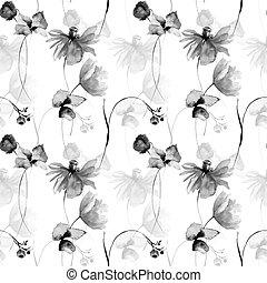monocromático, padrão, floral, seamless