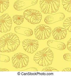 monocromático, pattern., vegetal, seamless, alimento