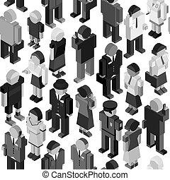 monocromático, pessoas, seamless, padrão