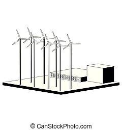 monocromático, planta, poder vento
