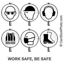 monocromático, saúde segurança, signpo