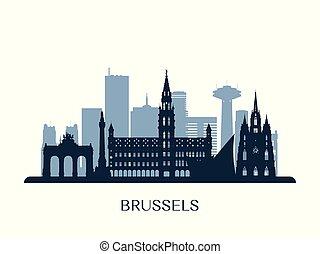monocromático, silhouette., skyline, bruxelas