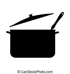 monocromático, silueta, com, panelas, e, ladle sopa