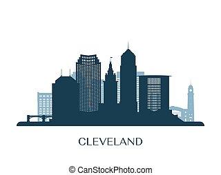 monocromático, skyline, cleveland, silhouette.