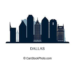 monocromático, skyline, dallas, silhouette.