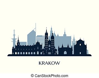 monocromático, skyline, krakow, silhouette.