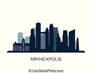 monocromático, skyline, minneapolis, silhouette.