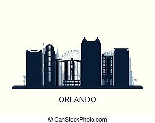 monocromático, skyline, orlando, silhouette.